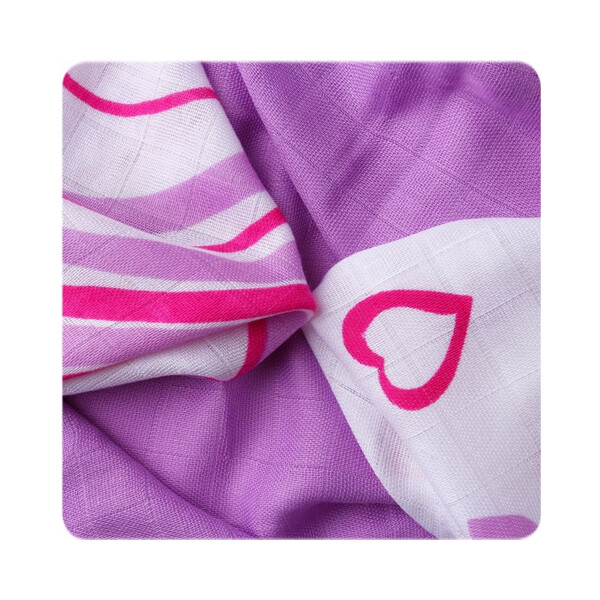 Bambus-Waschlappen 30x30 9er-Set lilac hearts & waves